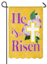 He Is Risen, Easter Cross, Floral, Flag, Small