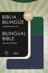 Biblia Bilingue RVR1960 NKJV - Bilingual Bible RVR1960 NKJV: Blue & Green Leathersoft - Slightly Imperfect