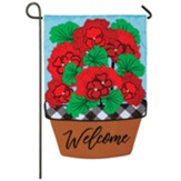 Welcome Geraniums, Garden Flag, Small