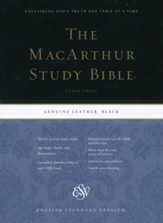 ESV MacArthur Study Bible, Large Print, Black Genuine Leather