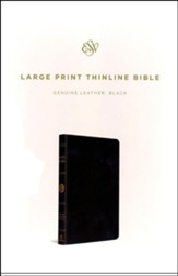 ESV Large Print Thinline Bible, Black Genuine Leather