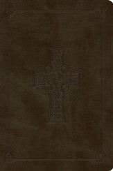 ESV Large Print Bible, TruTone, Olive, Celtic Cross Design - Imperfectly Imprinted Bibles
