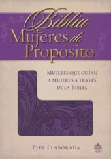Biblia RVR 1960 Mujeres de Proposito, Piel Elaborada, Purpura  (RVR 1960 Women of Destiny, Leathersoft, Purple) - Imperfectly Imprinted Bibles