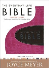 The Everyday Life Bible, Bonded Leather Bold Pink with Espresso Inset - Imperfectly Imprinted Bibles