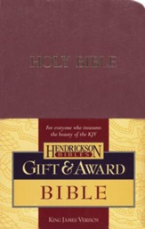 KJV Gift & Award Bible, Imitation leather, Burgundy  , Hendrickson Publishers
