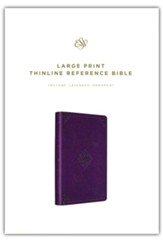 ESV Large Print Thinline Reference Bible--soft leather-look, purple with ornament design
