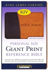 KJV Personal Size Giant Print Reference Bible,  imitation leather, black/tan - Imperfectly Imprinted Bibles