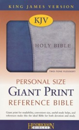 KJV Personal Size Giant Print Reference Bible, imitation leather, blue/gray