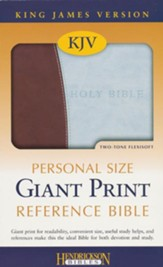 KJV Personal Size Giant Print Reference Bible, Chocolate/Blue - Slightly Imperfect