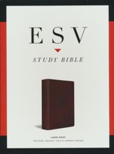 ESV Large-Print Study Bible--soft leather-look, walnut with Celtic imprint design