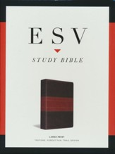 ESV Large-Print Study Bible--soft leather-look, forest/tan with trail design