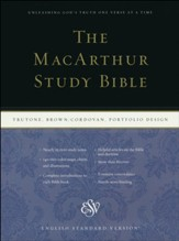 ESV MacArthur Study Bible--soft leather-look, olive with Celtic cross design