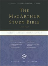 ESV Large-Print MacArthur Study Bible--soft leather-look, brown/cordovan with portfolio design