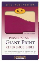 KJV Personal Size Giant Print Reference Bible, imitation leather, cream/raspberry - Imperfectly Imprinted Bibles