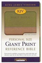 KJV Personal Size Giant Print Reference Bible, imitation leather, tan/olive