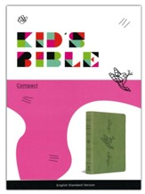 ESV Compact Kid's Bible--soft leather-look, green with bird of the air design - Imperfectly Imprinted Bibles
