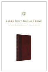 ESV Large-Print Thinline Bible--soft leather-look, burgundy/red with timeless design
