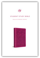 ESV Student Study Bible--soft leather-look, berry with floral design