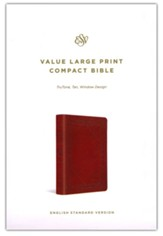 ESV Value Large-Print Compact Bible--soft leather-look, tan with window design