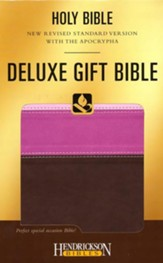 NRSV Deluxe Gift Bible with the Apocrypha--soft leather-look, chocolate/pink tri-color - Slightly Imperfect