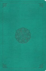ESV Compact Bible--soft leather-look, turquoise with emblem design