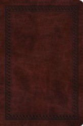 ESV Compact Bible--soft leather-look, mahogany with border design