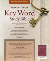 ESV Key Word Study Bible, Genuine Leather, Burgundy