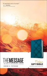 The Message Deluxe Gift Bible--soft leather-look, crosshatch denim