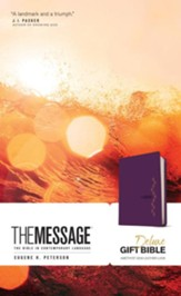 The Message Deluxe Gift Bible--soft leather-look, amethyst gem