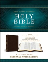 KJV Wide-Margin Personal Notes Bible, Bonded Leather, Dark Brown - Slightly Imperfect