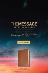 The Message Large-Print Devotional Bible--soft leather-look, brown