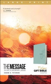 The Message Large-Print Deluxe Gift  Bible--soft leather-look, teal