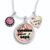 Quedese quieto y sepa, cadena  (Be Still and Know Necklace, Spanish)