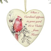Cardinal Visitor Heart Ornament