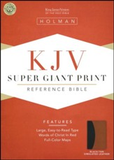 KJV Super Giant Print Reference Bible, Black & Tan Simulated Leather