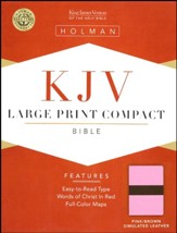 KJV Large Print Compact Bible, Pink & Brown Simulated Leather - Slightly Imperfect