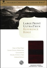 HCSB Large Print UltraThin Reference Bible, Mahogany imitation leather, indexed