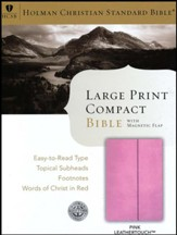 HCSB Large-Print Compact Bible--soft leather-look, pink with magnetic flap - Imperfectly Imprinted Bibles