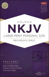 NKJV Large Print Personal Size Reference Bible, Purple LeatherTouch, Thumb-Indexed - Slightly Imperfect