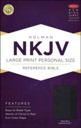 NKJV Large Print Personal Size Reference Bible, Slate Blue LeatherTouch - Slightly Imperfect
