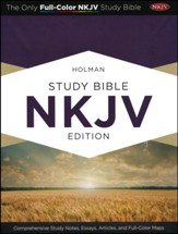 NKJV Holman Study Bible, Black Genuine Leather, Thumb-Indexed  - Imperfectly Imprinted Bibles