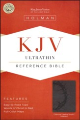 KJV UltraThin Reference Bible, Charcoal LeatherTouch, Thumb-Indexed
