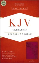 KJV UltraThin Reference Bible, Pink LeatherTouch - Slightly Imperfect