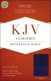 KJV UltraThin Reference Bible, Purple LeatherTouch, Thumb-Indexed - Slightly Imperfect