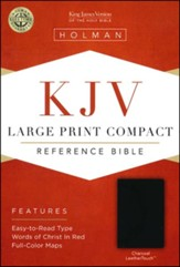 KJV Large Print Compact Reference Bible, Charcoal LeatherTouch - Slightly Imperfect