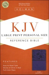 KJV Large-Print Personal-Size Reference Bible--soft leather-look, purple