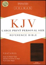 KJV Large Print Personal Size Reference Bible, Brown LeatherTouch, Thumb-Indexed - Slightly Imperfect