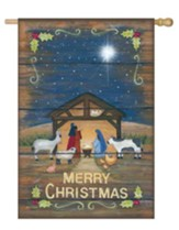 Merry Christmas Nativity Suede Flag, Large