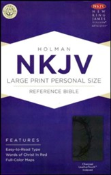 NKJV Large Print Personal Size Reference Bible, Charcoal LeatherTouch, Thumb-Indexed - Slightly Imperfect