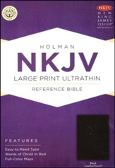 NKJV Large Print Ultrathin Reference Bible, Black LeatherTouch - Slightly Imperfect